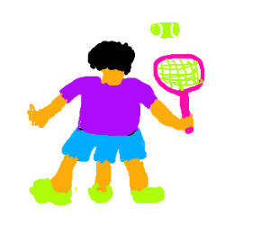Three-legged tennis player