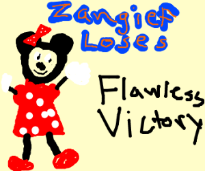 Minnie Mouse defeats Zangief effortlessly