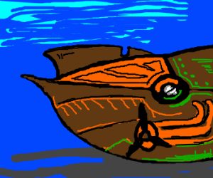 Epic Jules Vernian underwater submarine vessel