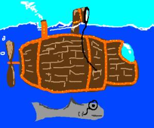 Shark swims next to steampunk submarine