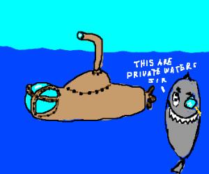 Steampunk submarine and gentleman shark