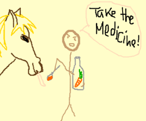 Horse has to take carrot medicine