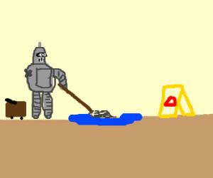 One armed Bender, mops the floor