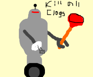 robot with plunger and eggbeater