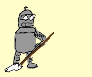 Bender mops the floor