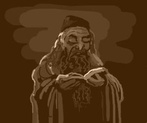 Russian Rabbi studies the ancient texts