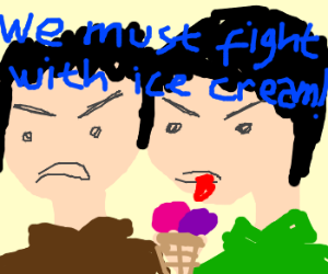 Two men preparing to fight with ice creams.