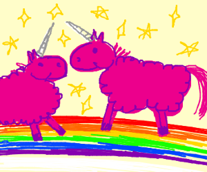 Pink, fluffy unicorns dancing on rainbows.