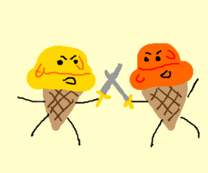 Ice cream cone heads dueling!