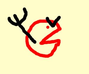 Dead devil pacman with a unibrow