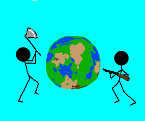 Stick men trying to destroy earth