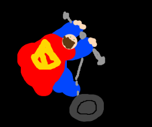 Superman too lazy to fly, uses a Segway