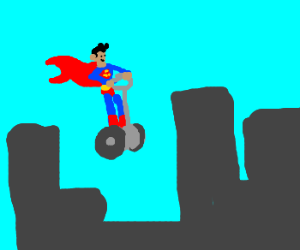 Look up in the sky - its Superman Segwaying!
