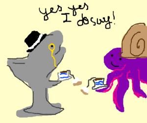 Spiffing gentleman shark and a snail octopus