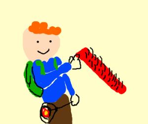Prepubescent child, touching a hairy shaft.