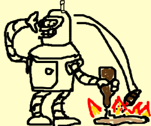 Bender the janitor cleaning the floor