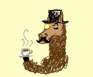 Sir Llama rocks a tophat, monocle, and 'stache