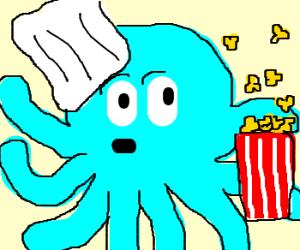 Chef octopus and his magic popcorn