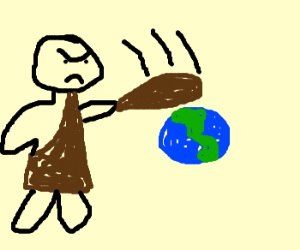 Giant Cave man destroying earth