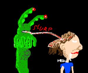 monster get drug addict brains w/ window straw
