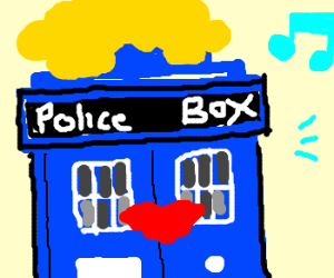 Tardis with red lipstick and wig, expectant