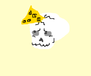 skull impaled by cheese wedge