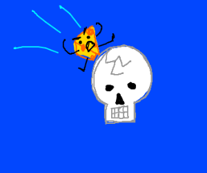 Skull got cracked by an angry piece of cheese
