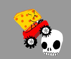 A live cheese runs over a skull!