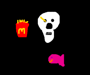A french frie skullfucking a skull. By a fish.