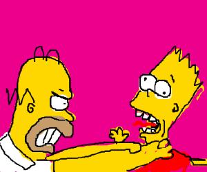 Homer Simpson choke Bart