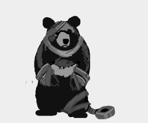 Black bear wrapped in Duck Tape.