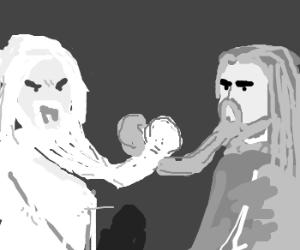 Gandalf & Saruman have beard-wrestling contest