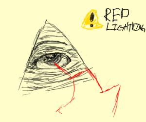 Eye of Providence pyramid shoots red lightning