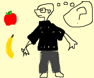 Steve Jobs knows not if to eat apple or banana