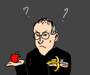 Steve Jobs deciding between apple and banana