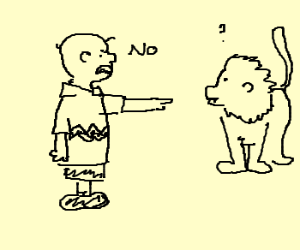Boy from Snoopy getting arm eaten by lion