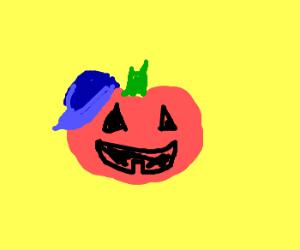 Jack O Lantern with a baseball cap.