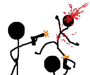 stick figures shoot one another; blood appears