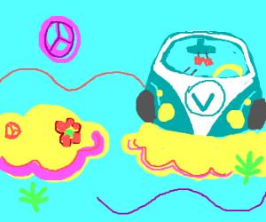 A VW Bus in Hippie Heaven