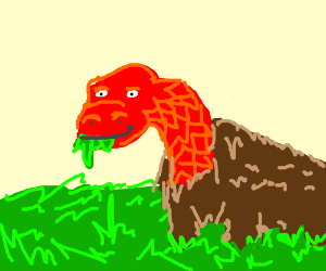 Dragon-buffalo eats grass whilst staring at ya
