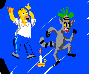 King Julian & Homer Simpson Dance Around Candl