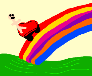 Riding a lawnmower up a rainbow. Yeah!