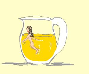 Naked girl swims in lemonade