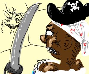 Pirate lady w/scar on cheek glares at wall