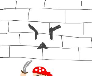 Pirate Versus a wall w/ a face