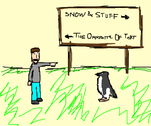 giving directions to a penguin