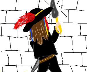 Pirate vs. a white wall