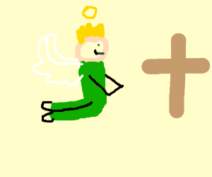 Blonde male angel in green suit prays, smiles.