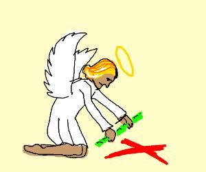 Angel checks out a cross