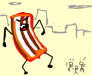 giant bacon man scares little people